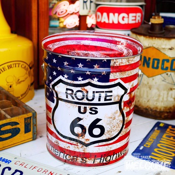 レトロ調 ペール缶スツール(ルート66星条旗) イメージ1