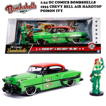 1:24 DC COMICS BOMBSHELLS 1953 CHEVY BELL AIR HARDTOP & POISON IVY ミニカー イメージ3