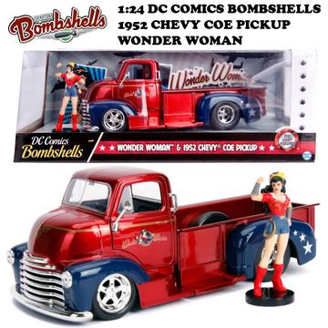 1:24 DC COMICS BOMBSHELLS 1952 CHEVY COE PICKUP & WONDERWOMAN ミニカー イメージ3